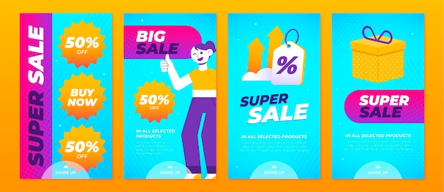 Instagram sale stories collection Free Vector