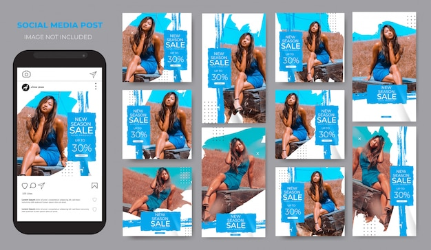 Instagram設定ファッション販売ブラシ青いブラシ投稿フィードテンプレート