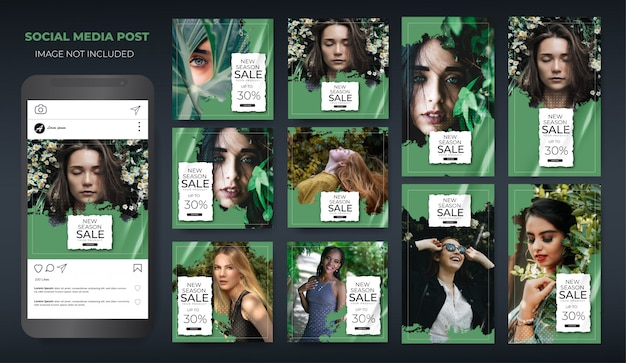 Instagram set fashion sale modern green layout post feed