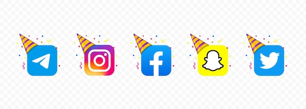 Instagram, snapchat, youtube, telegram, twitter, whatsapp and facebook. party social network