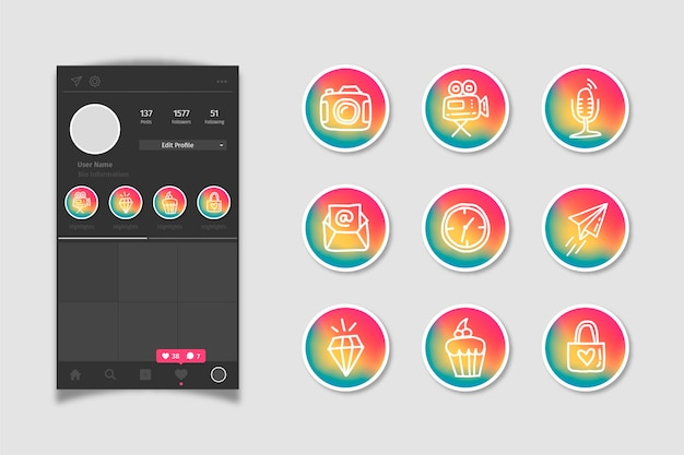 Instagram social media gradient stories highlights
