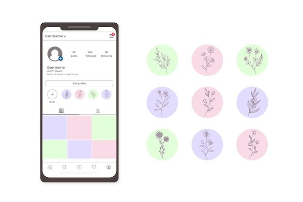 Punti salienti di storie floreali disegnate a mano sui social media di instagram