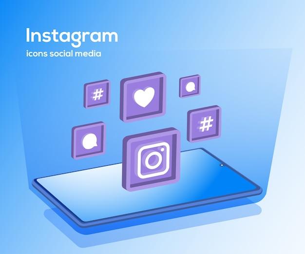 スマートフォンのシンボルとinstagramのソーシャルメディアアイコン