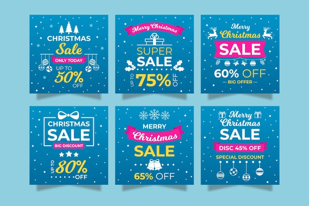 Instagram social media post collection sale with snowflakes