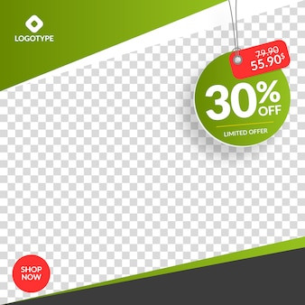 Instagram and social media sale banner with empty abstract background