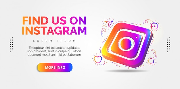 화려한 디자인의 instagram 소셜 미디어.