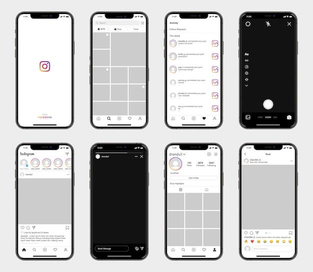 Шаблон интерфейса социальной сети instagram на смартфонах. макет социальной сети instagram