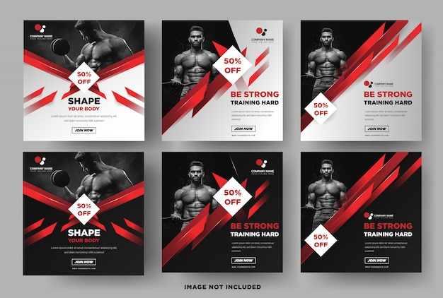 Instagram square banner template, fitness gym promotion