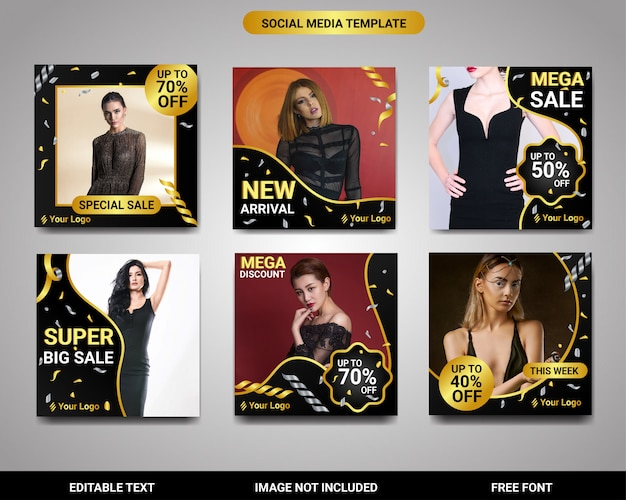 Instagram square post or banner exclusive gold template set