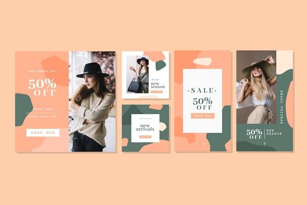 Instagramのストーリーと投稿のコレクションテンプレート