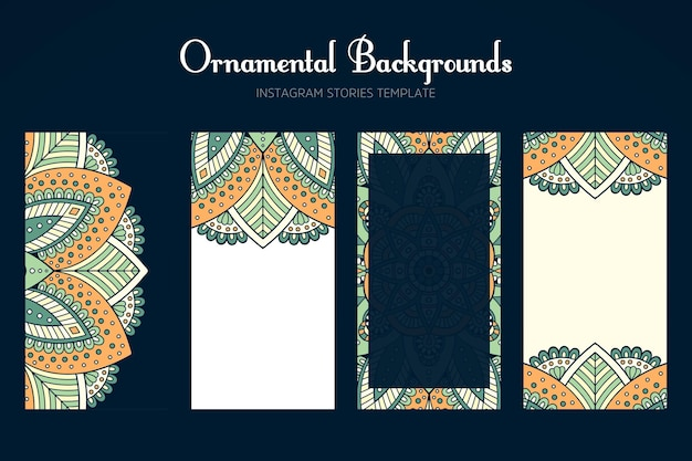 Instagram stories background collection with mandala
