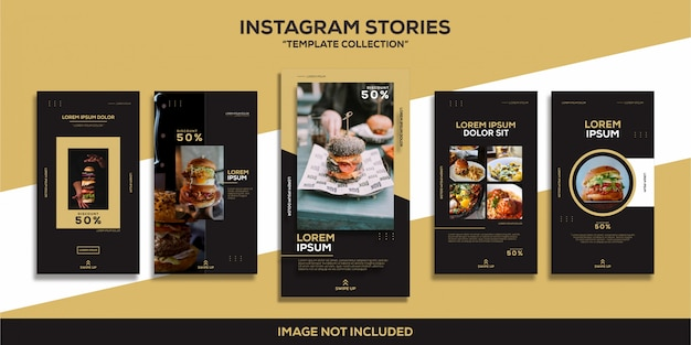Instagram stories burger food restaurant glamour luxury template collection
