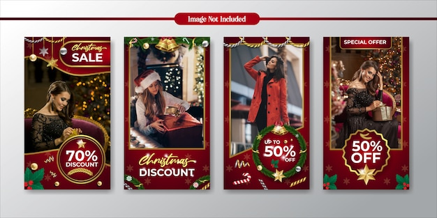 Instagram stories christmas promotion and discount sale template