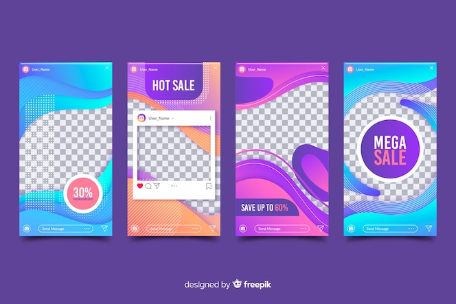 Instagram stories collection abstract design