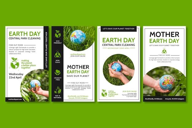 母なる地球デーのお祝いのためのinstagramストーリーコレクション