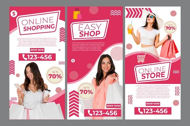 온라인 쇼핑을위한 instagram 이야기 모음