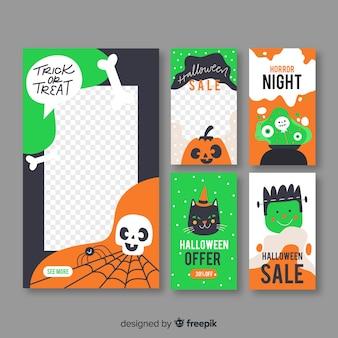 Raccolta di storie di instagram per halloween Vettore gratuito
