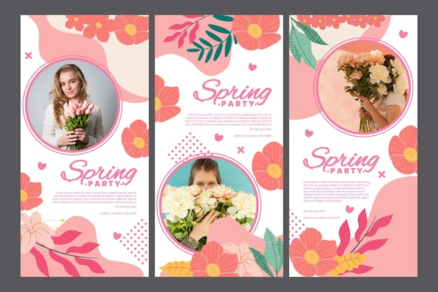 Instagram stories collection for spring party with woman and flowers