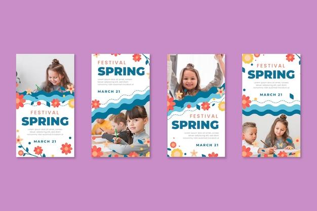 Raccolta di storie di instagram per la primavera con i bambini Vettore gratuito