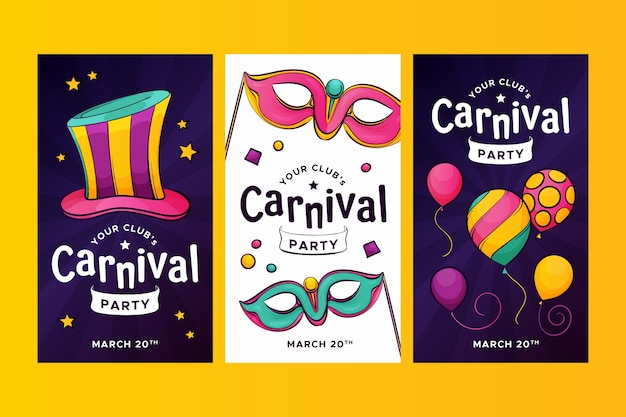 Instagram stories collection with carnival party concept