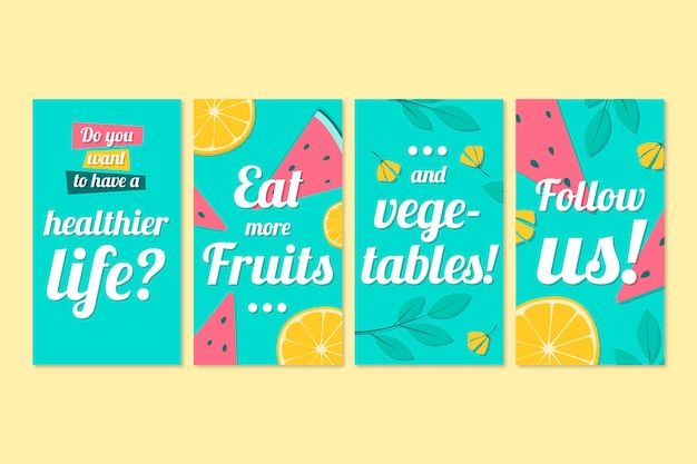 Instagram stories collection with fruits