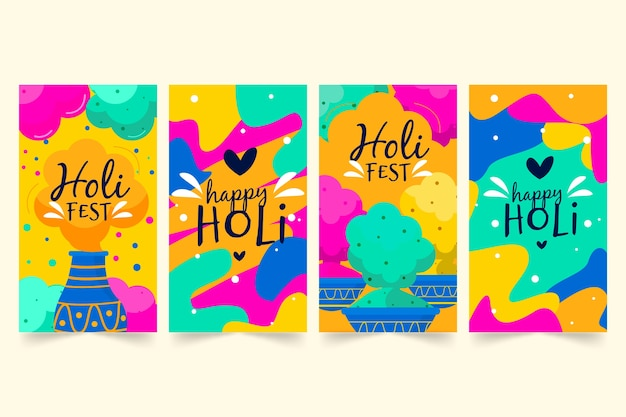Instagram stories collection with holi festival concept