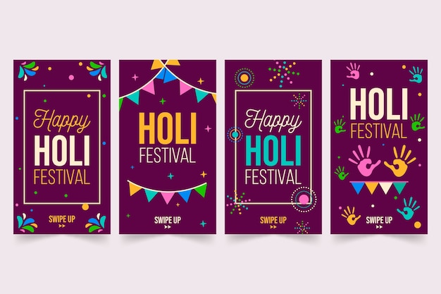Instagram stories collection with holi festival theme