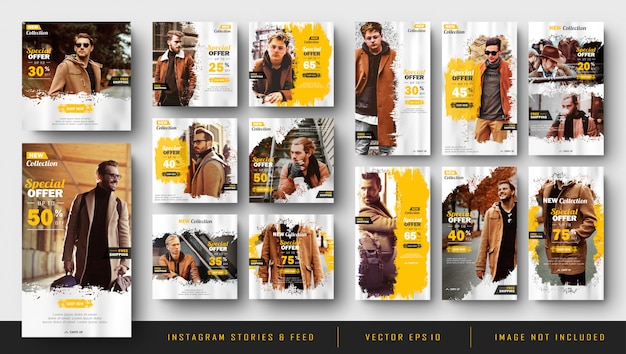 Instagram stories and feed post bundle kit template