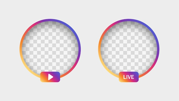 Instagram stories gradient frame with shadow for social media icon avatar live video streaming