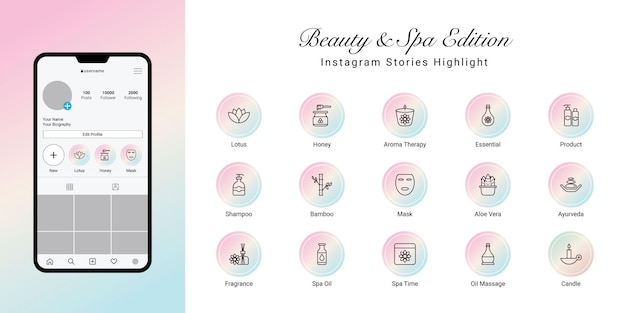 Instagram stories highlight cover for beauty and spa