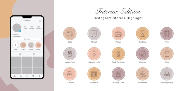 Instagram stories highlight cover for interior