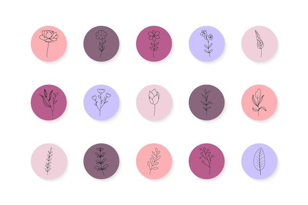 手描きの花の要素で設定されたinstagramのストーリーのハイライト