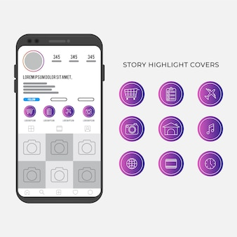 Instagram stories highlights with gradient