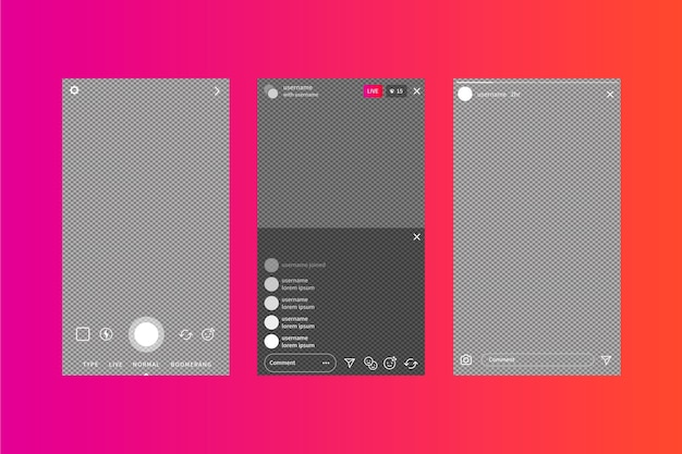 Instagram stories interface template and gradient background