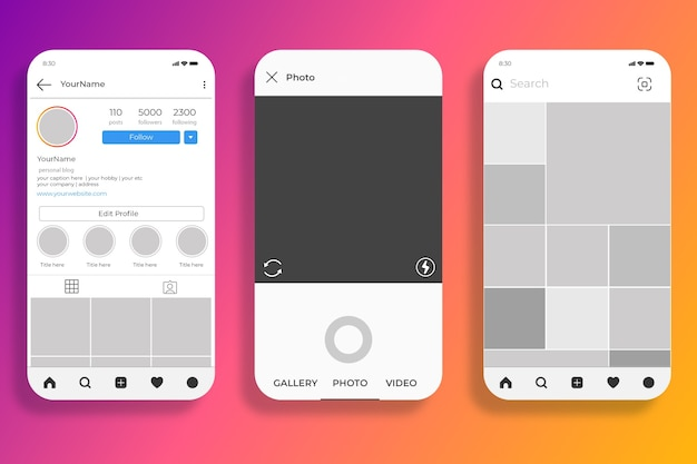 Instagram stories interface template