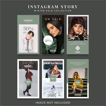 Instagram stories minimalist social media banner template collection