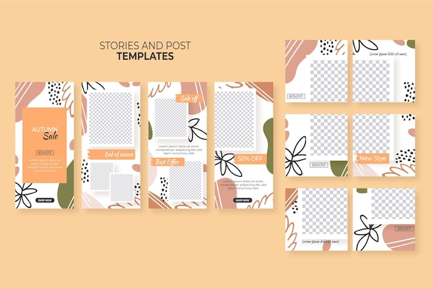 Instagram stories and posts set templates