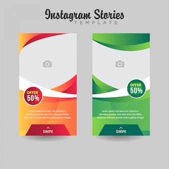 Instagram stories sale template gradient design premium vector