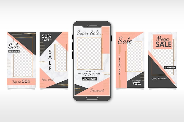 Instagram stories sales collection in marble style