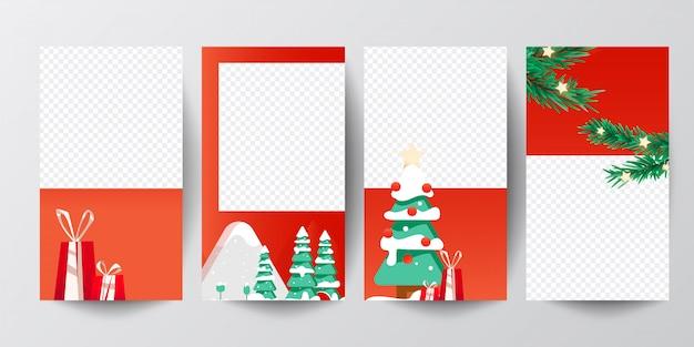 Instagram 이야기는 크리스마스 트리와 선물의 배너를 설정합니다.