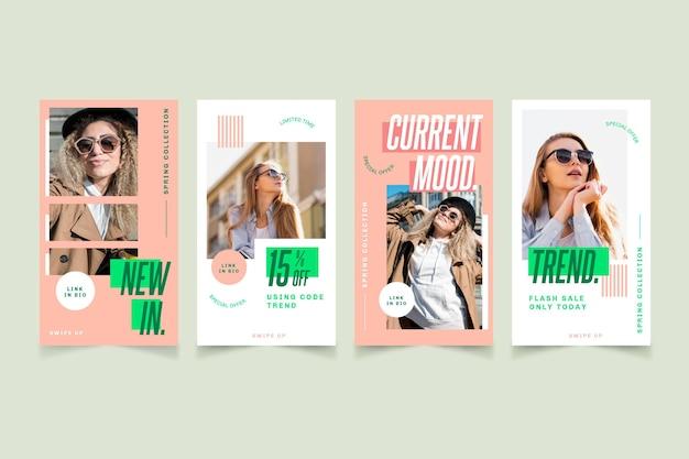 ファッションセールプロモーションが設定されたinstagramストーリー