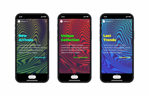 Instagram stories social media network carousel design template on photorealistic smartphone screen