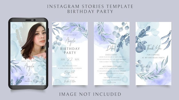 Instagram stories template for birthday party invitation with floral background