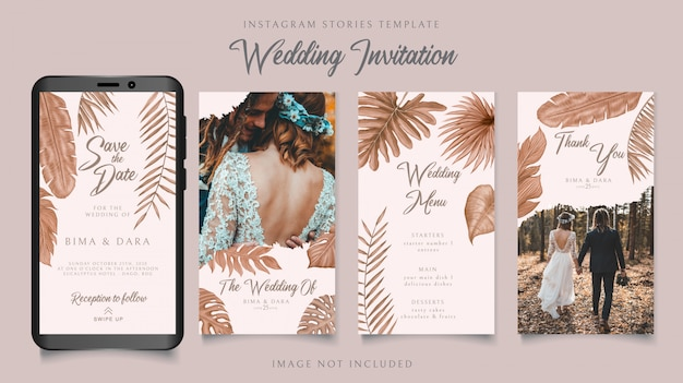 Шаблон instagram историй для свадебного приглашения на фоне тропических листьев