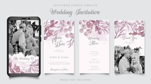 ピンクの花の結婚式の招待状のinstagramストーリーテンプレート