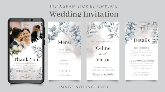Instagram stories template for minimalist wedding invitation with flowers