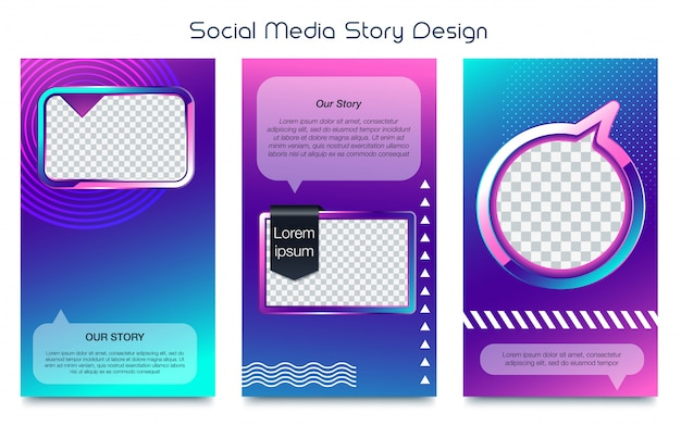 Instagram stories template photo frame vector set