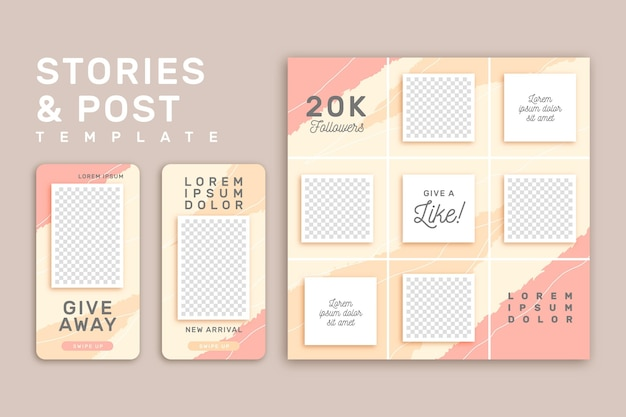 Instagram stories template pink and yellow