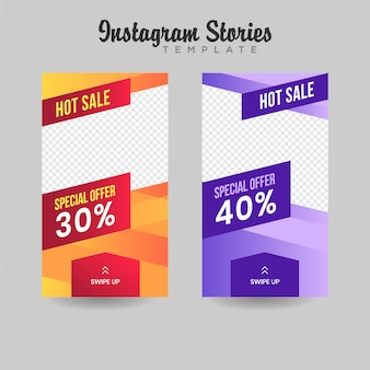 Instagram stories template sale banner premium