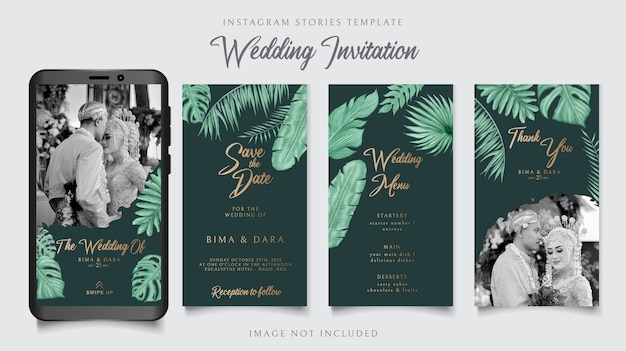 Instagram stories template for wedding invitation card tropical floral theme background on dark green paper